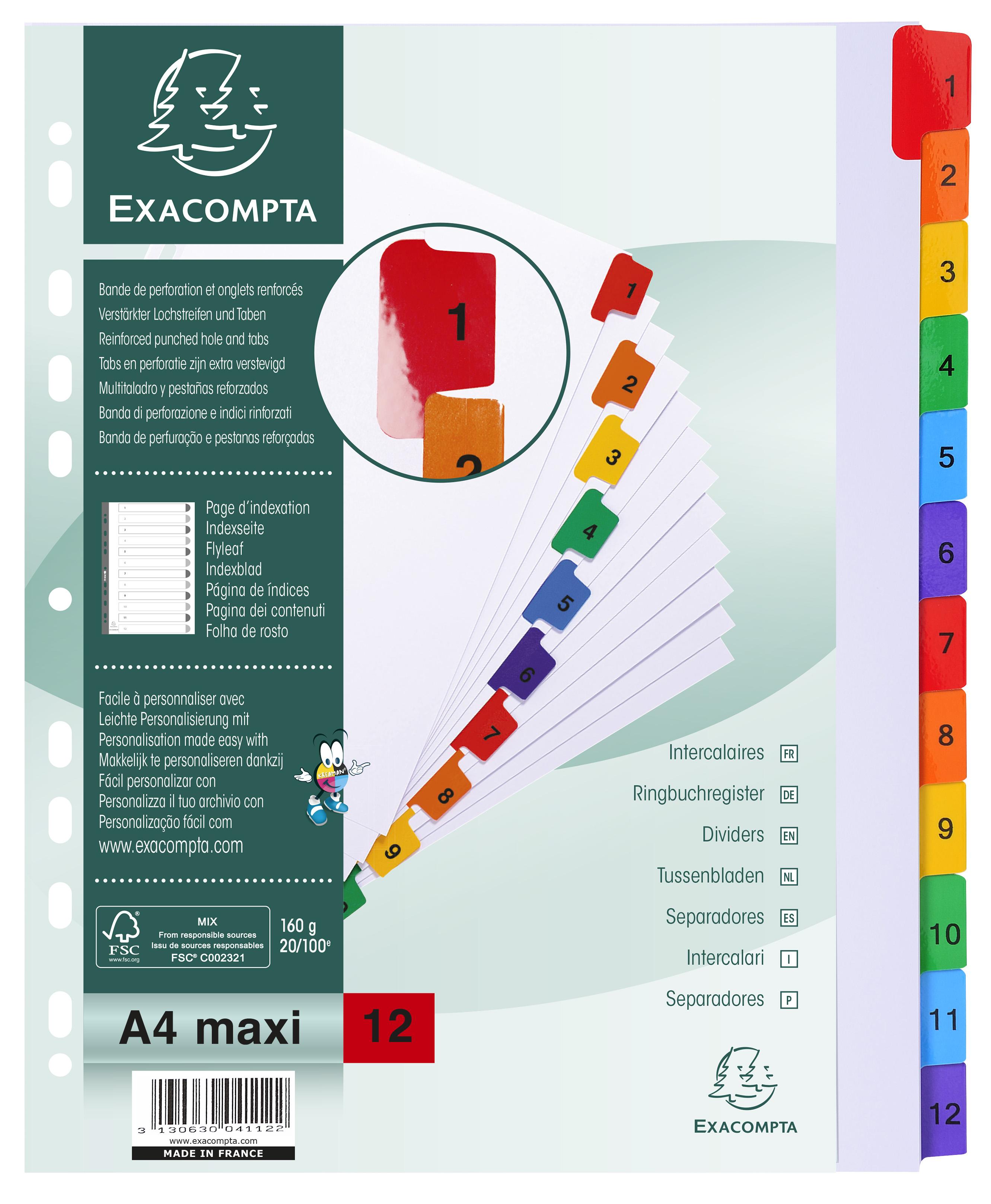 Exacompta 12pt Printed Index Extra Wide