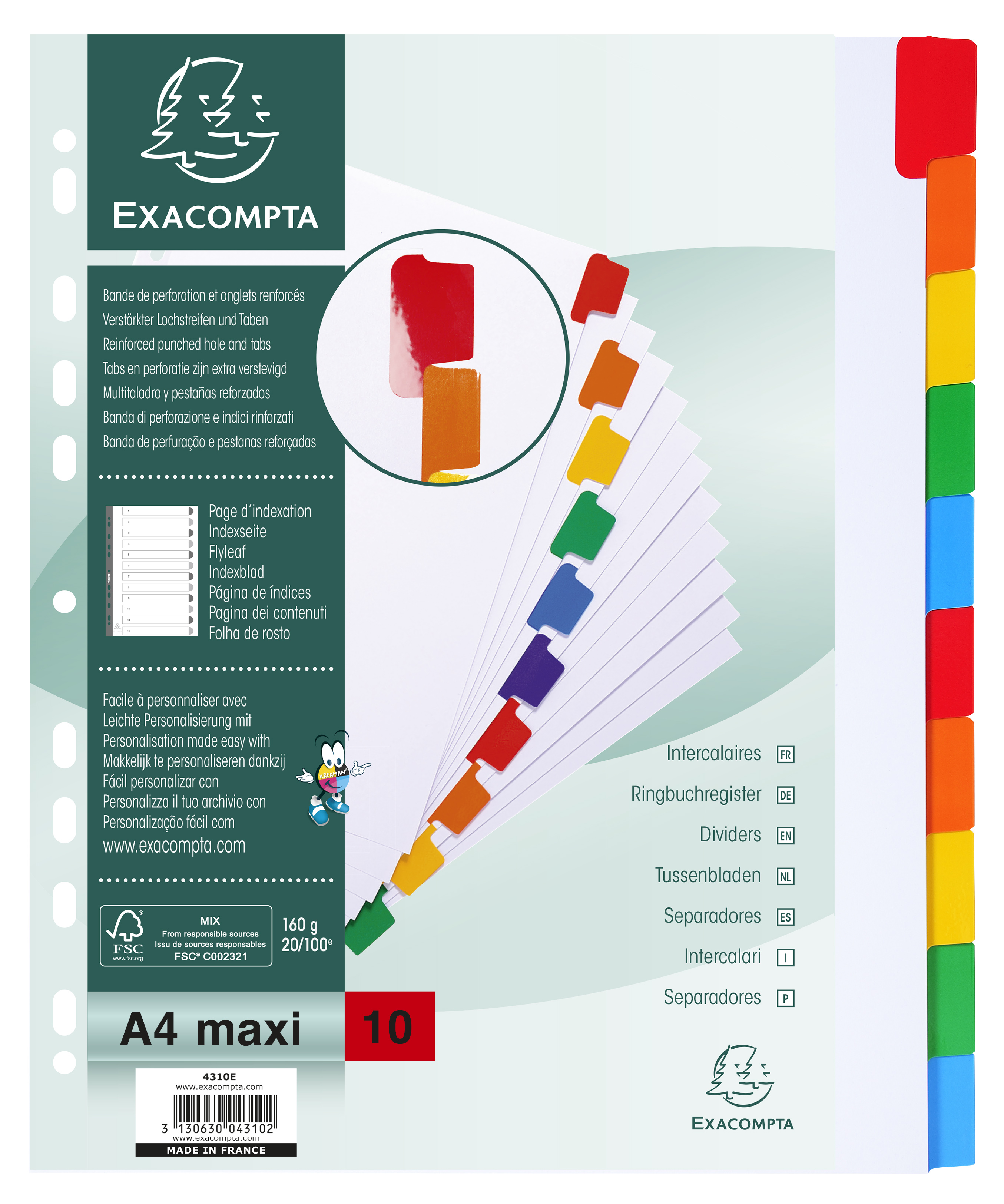 Dividers Exacompta Divider 10 Part A4 Extra Wide 160gsm Card White with Coloured Mylar Tabs