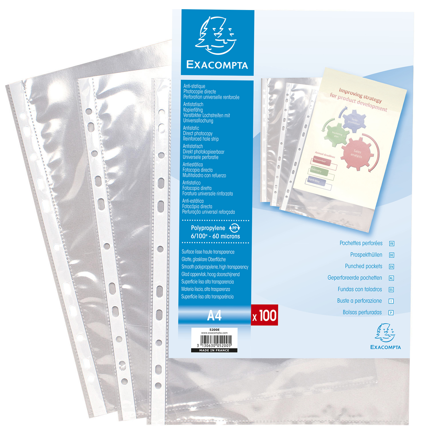 Plastic Pockets Exacompta Punch Pockets Polypropylene A4 60 Micron Clear (Pack 100)