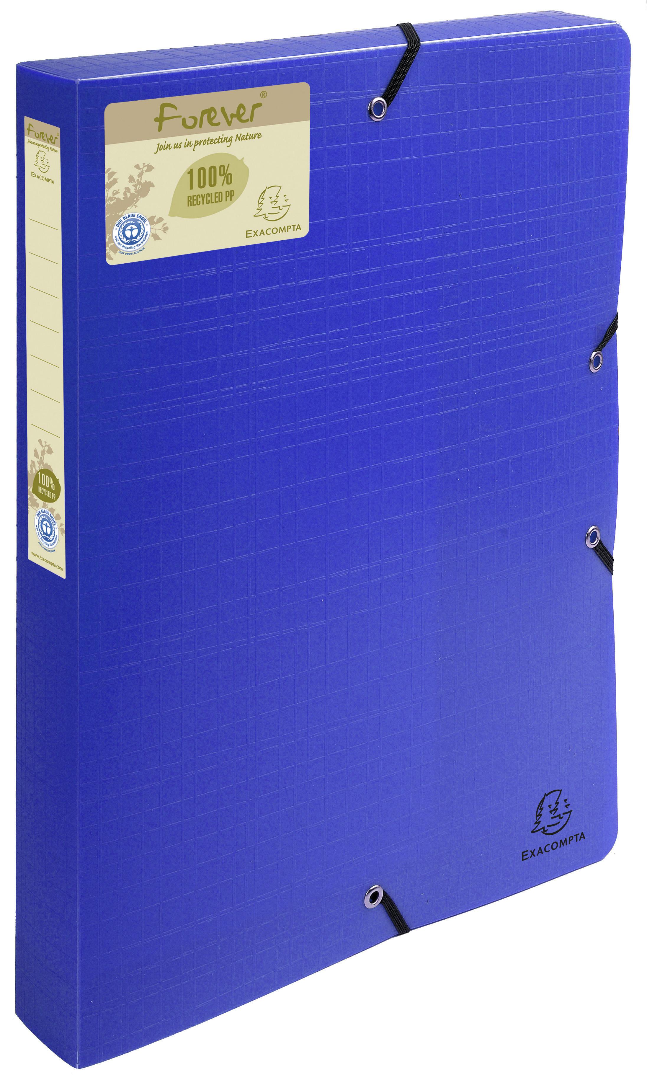 Box Files Forever Box File Elastic Closure A4 40mm PP Blue PK8