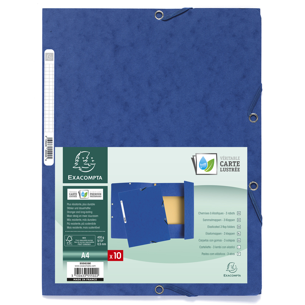 Square Cut Folders Europa Elasticated 3 Flap Folders 400gsm 24x32cm Blue PK10