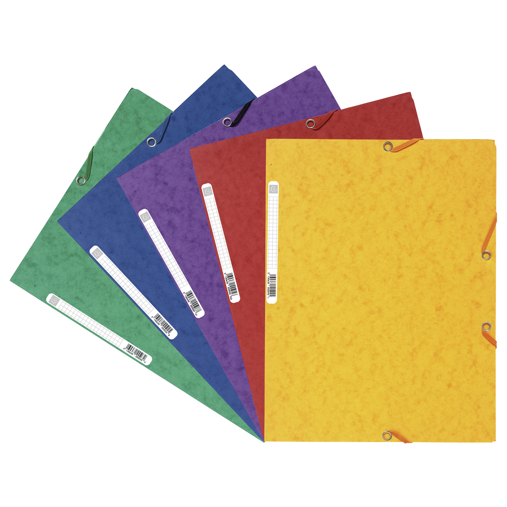 Square Cut Folders Europa Elasticated 3 Flap Folders 400gsm 240x320mm Asst PK10