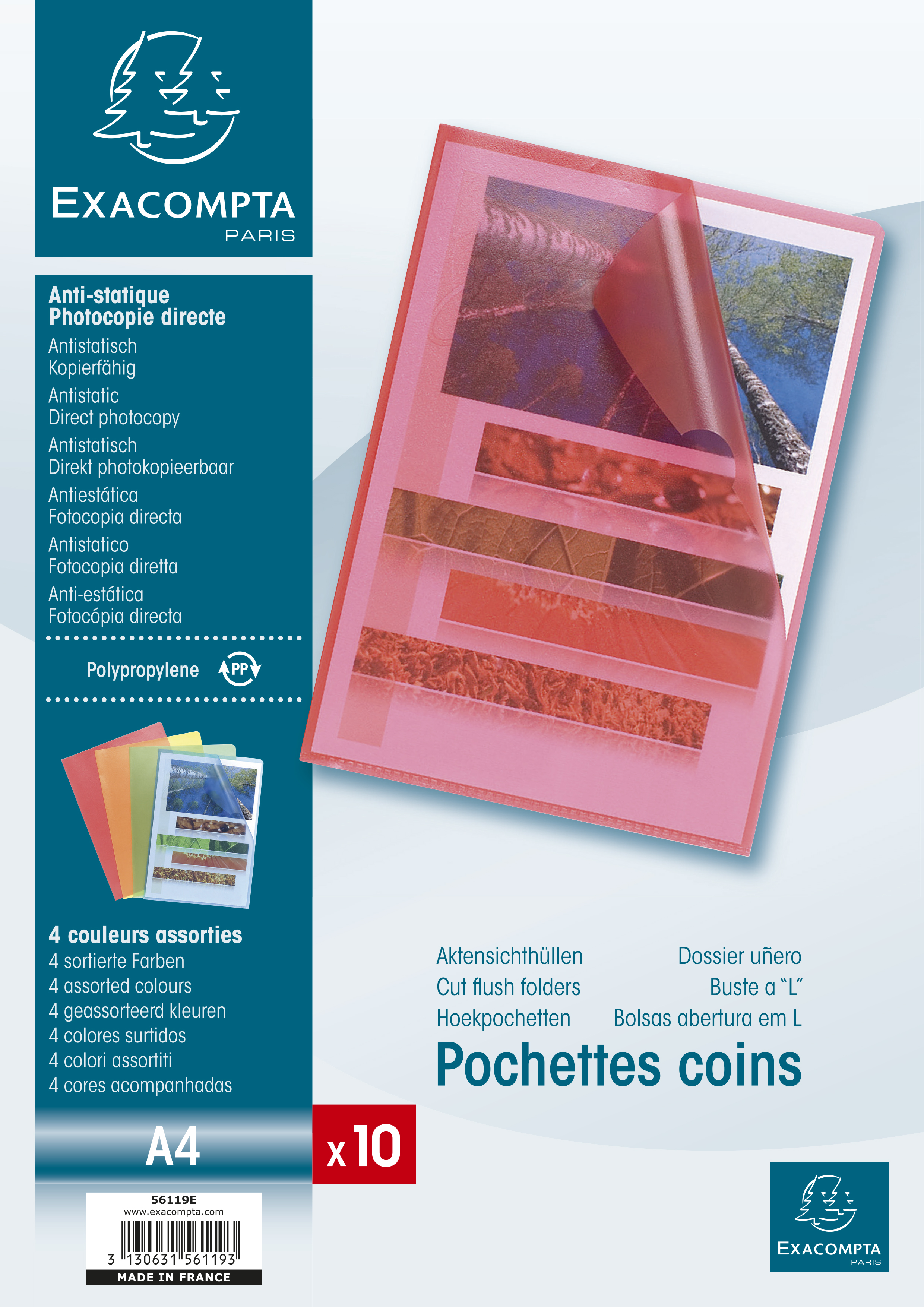 Folders / Binders / Cases ValueX Cut Flush Folder A4 Grain PP Assorted PK10 56119E
