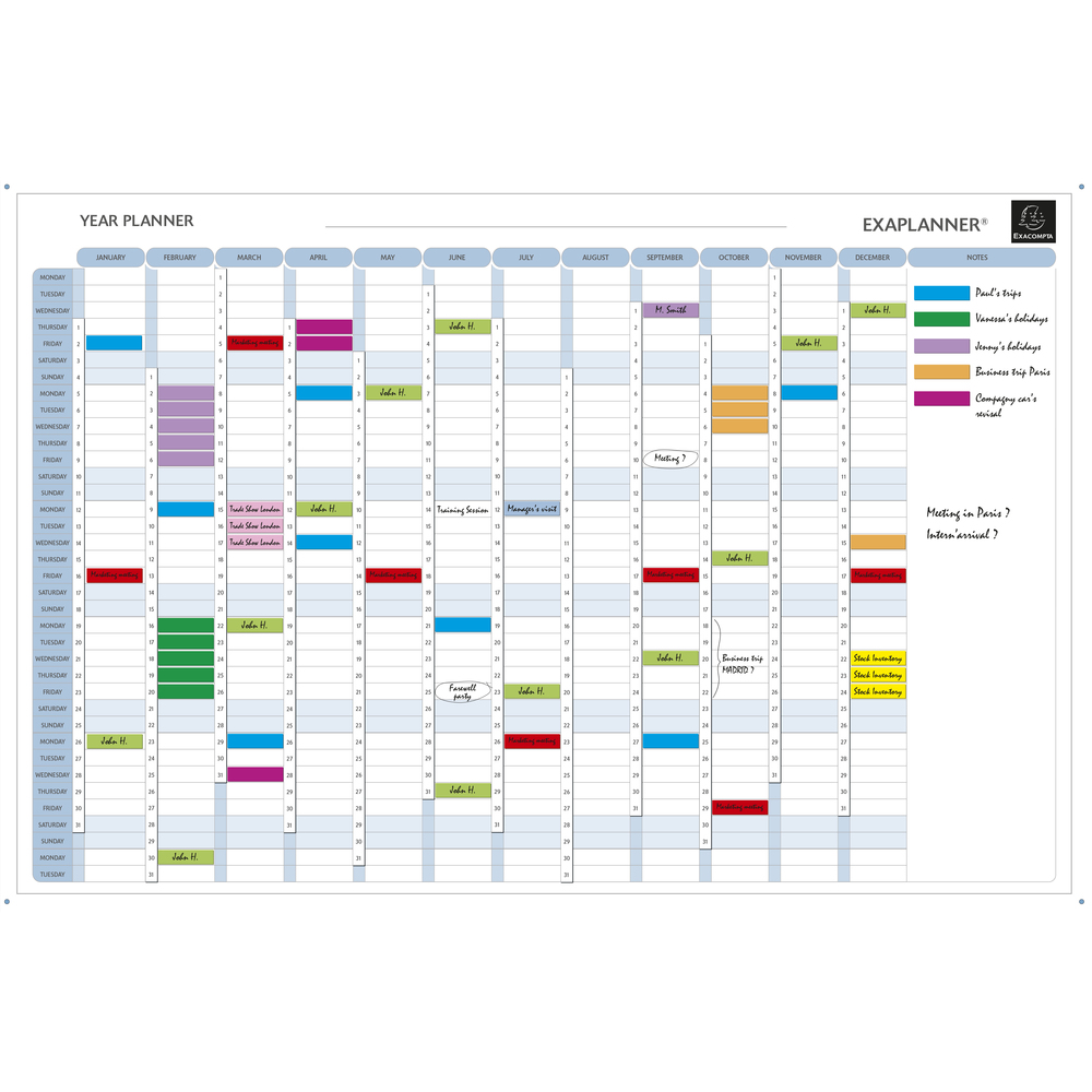 Planners Exaplanner Yearly Magnetic Planner 90x59cm