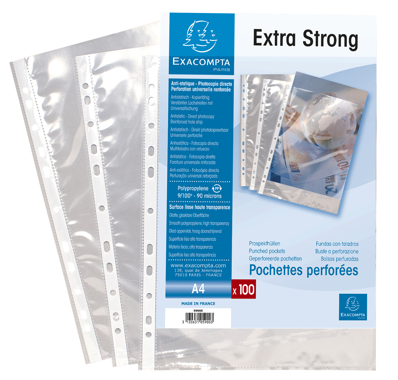 Plastic Pockets Exacompta Punch Pockets Polypropylene A4 90 Micron Clear (Pack 100)