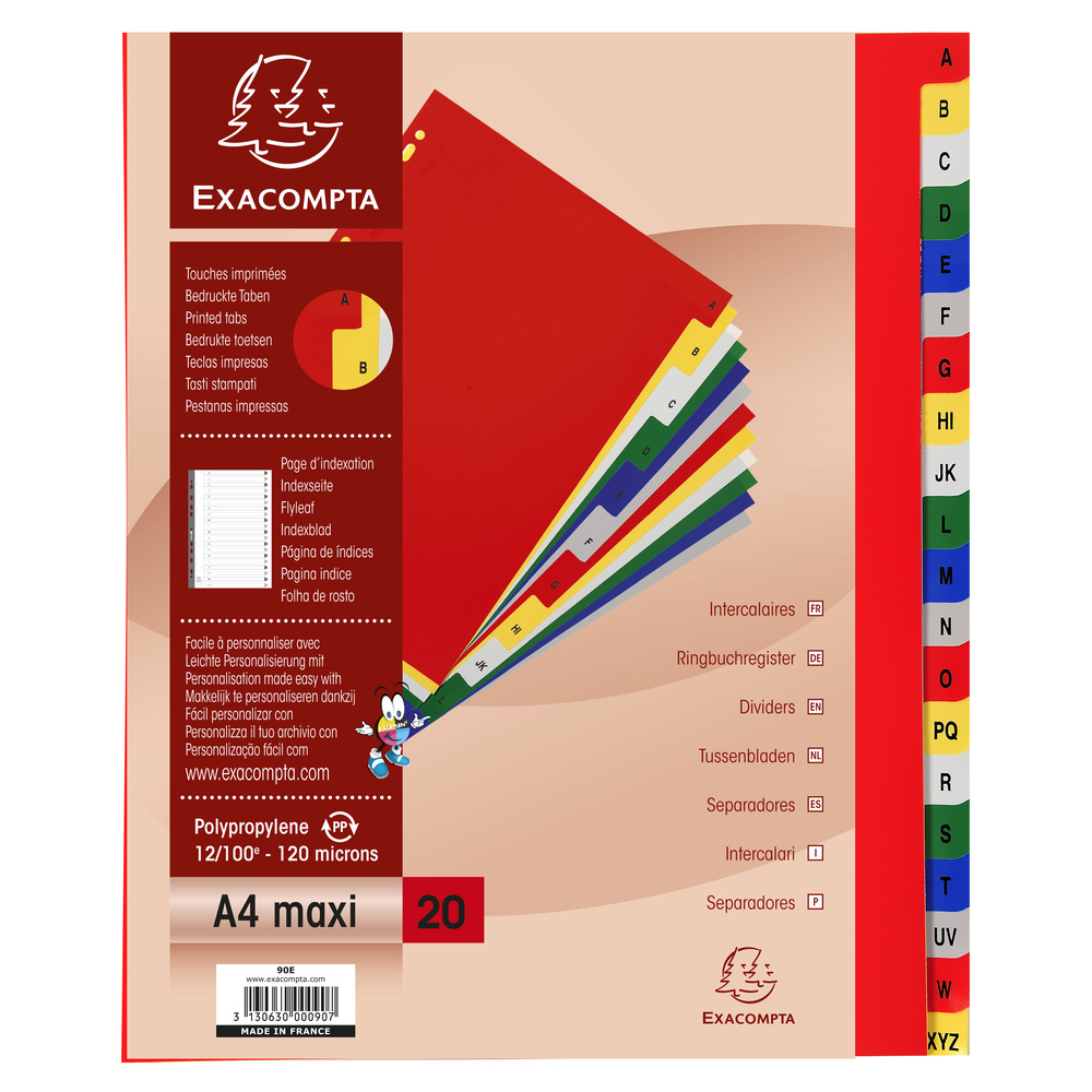 Indexes Exacompta 20 Part Printed PP Index A4 Extra Wide