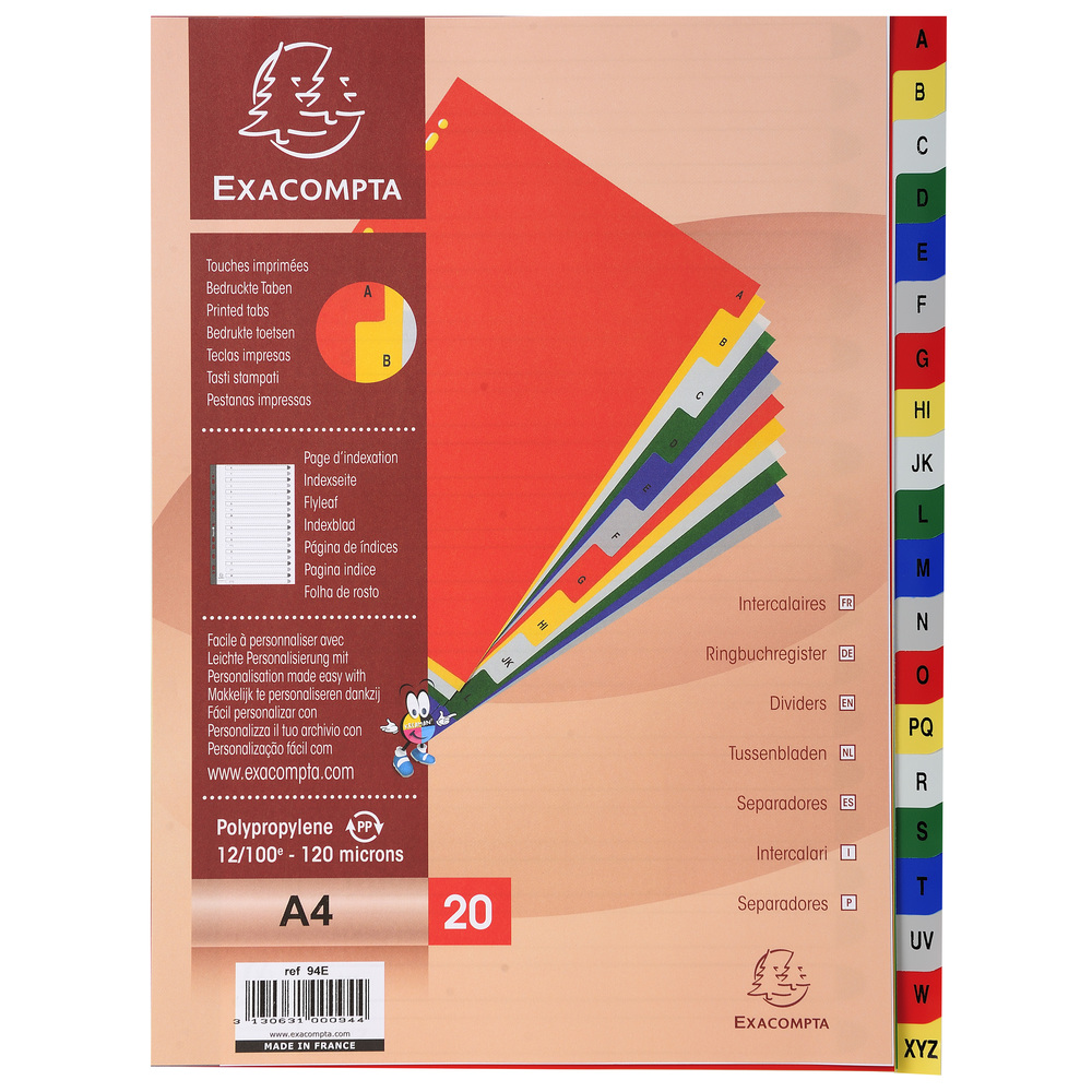 Indexes Exacompta 20 Part Printed PP Index