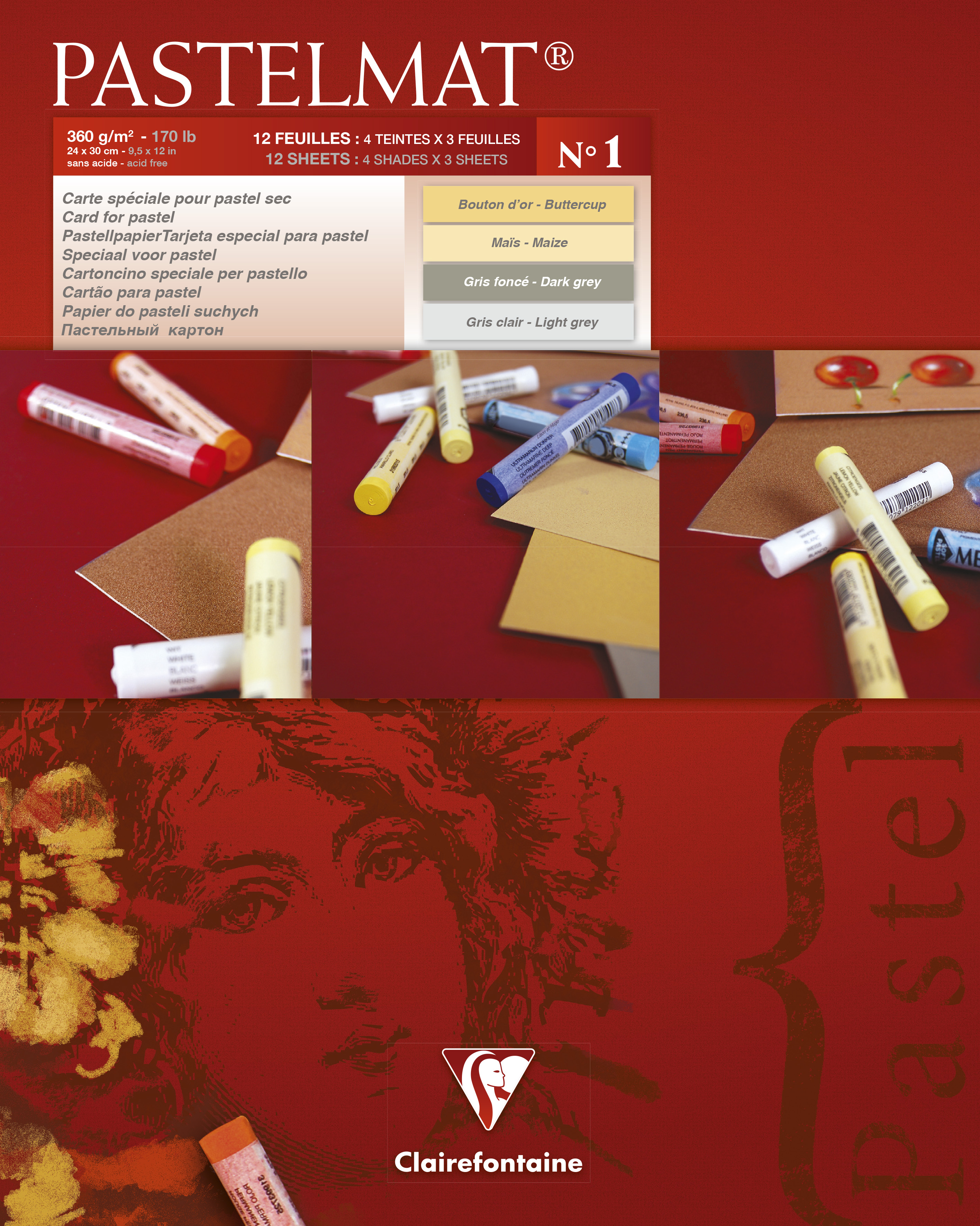 Clairefontaine Pastelmat Pad No.1 240x300mm 360gsm 12 Sheets 4 Colour Shades of Paper 96017C