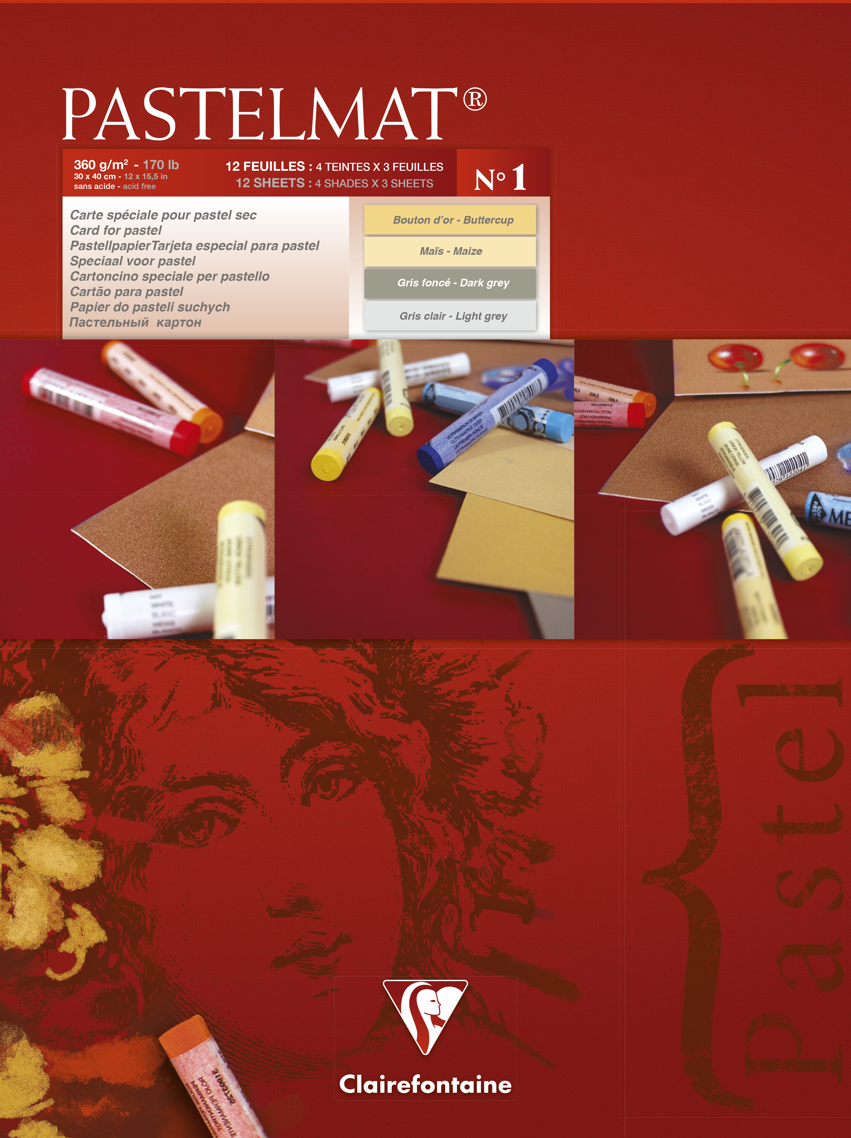 Clairefontaine Pastelmad Pad No.1 300x400mm 360gsm 12 Sheets 4 Colour Shades of Paper 96018C
