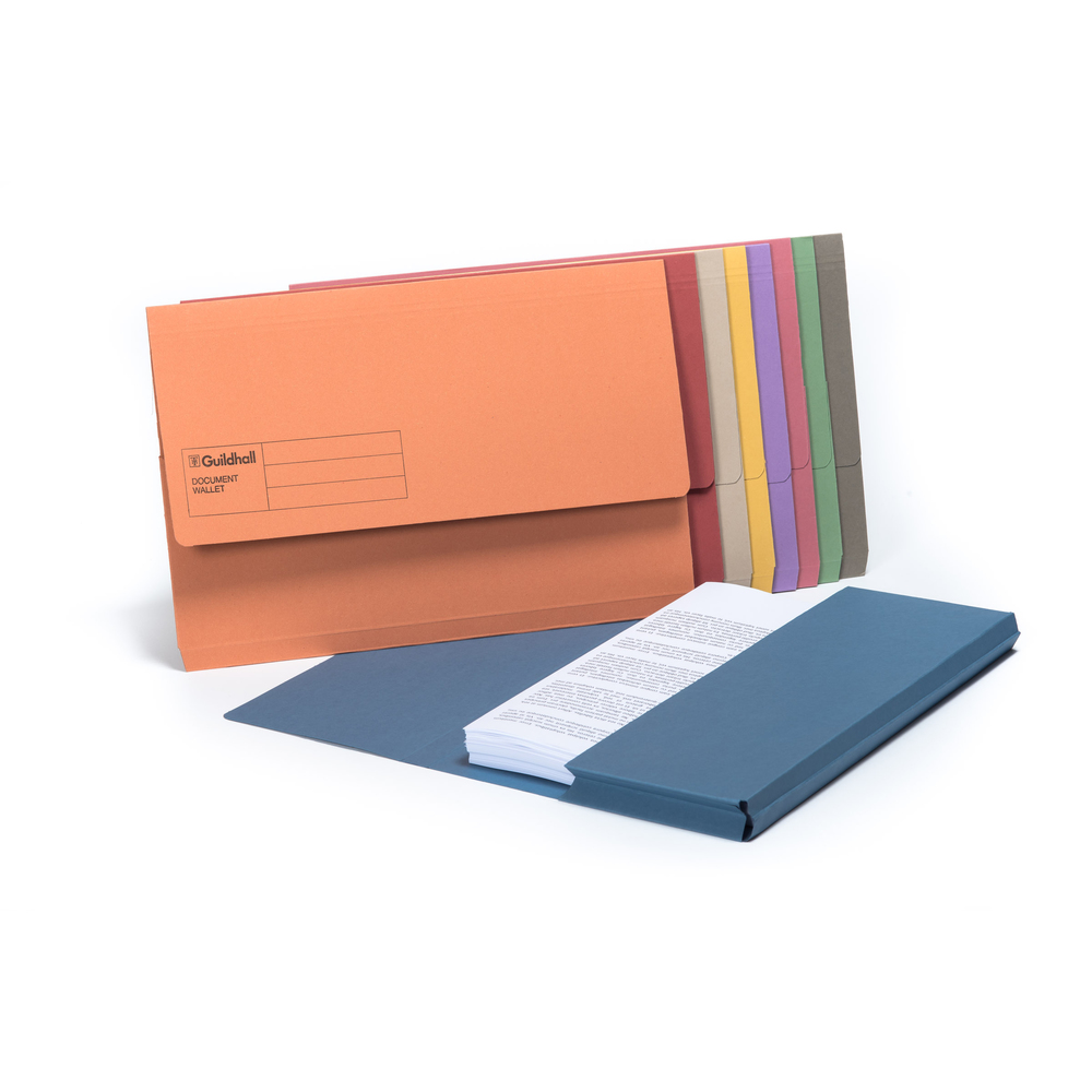 Document Wallets Guildhall Manilla 285g Foolscap Document Wallet Assort PK50
