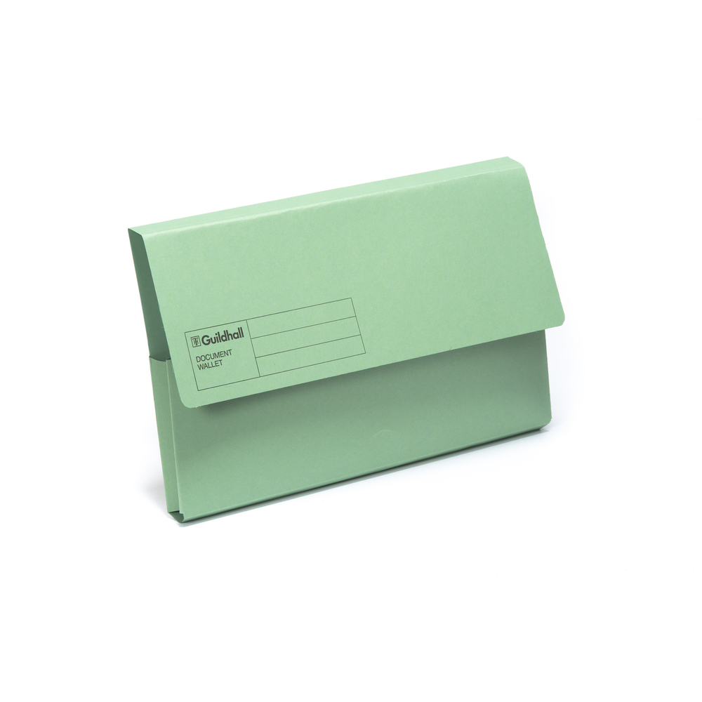 Square Cut Folders Guildhall Document Wallet Blue Angel Green PK50