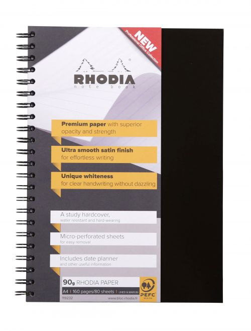 Rhodia A4 Wirebound Hard Cover Notebook Ruled 160 Pages (Pack 3) 119232C