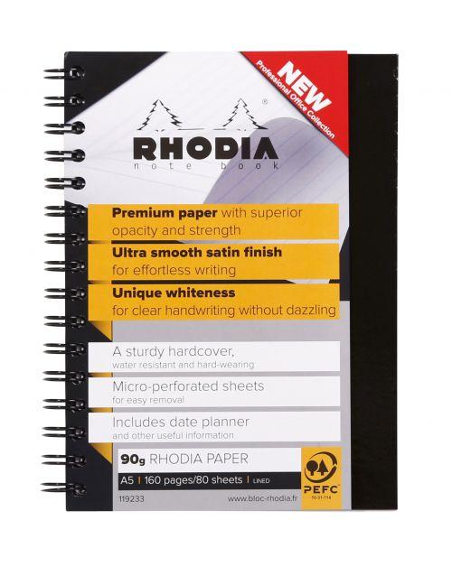 Rhodia Business Book Wirebound A5 160pages Black 119233C