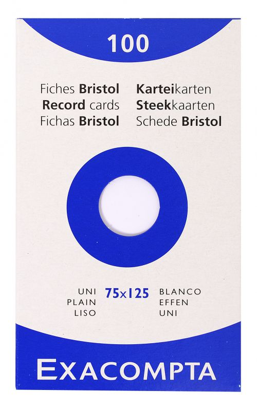 Exacompta Record Cards Plain 125x75mm White (Pack 100) 13301E