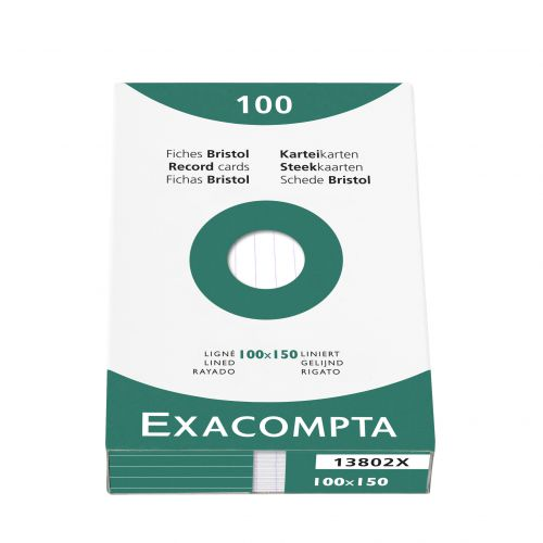 Exacompta Record Cards Lined100X150MM WT
