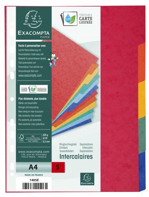 Exacompta Divider 5 Part A4 225gsm Pressboard Assorted Colours