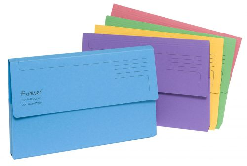 Exacompta Forever Document Wallet Manilla Foolscap Half Flap 290gsm Assorted (Pack 25) 211/5000Z