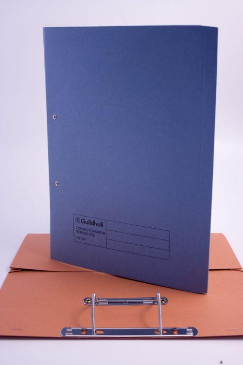 Guildhall Transfer Spiral Pocket File Foolscap Blue 420gsm 211-6000