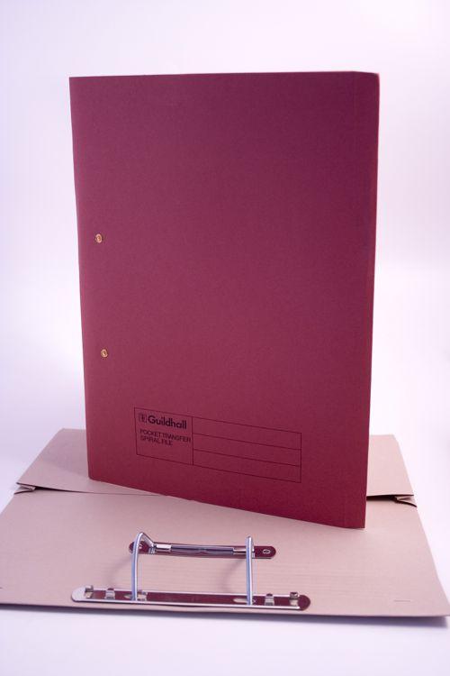 Guildhall Transfer Spiral Pocket File Foolscap Red 420gsm 211-6005