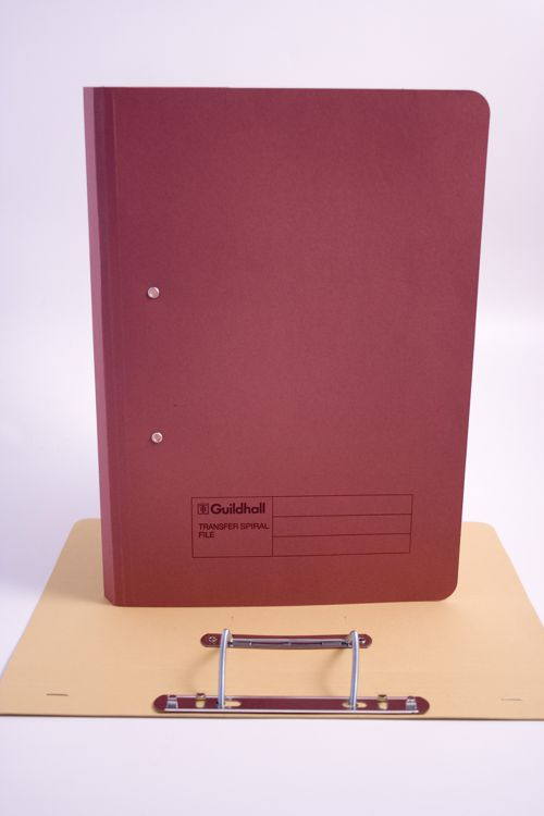 Guildhall Transfer Spring File Foolscap 420gsm Red PK25