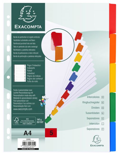 Exacompta 5 Part Dividers with Reinforced Mylar Tabs