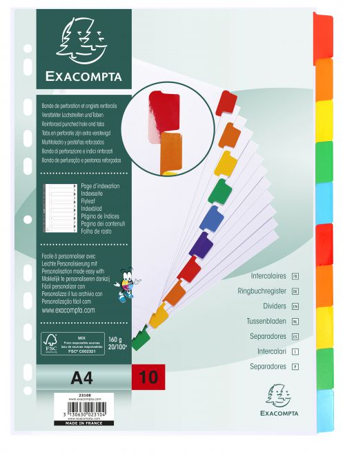 Exacompta 10 Part Dividers with Reinforced Mylar Tabs