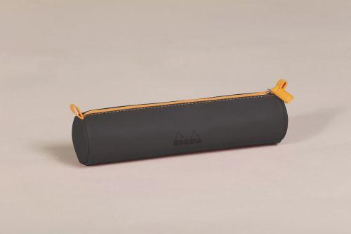 Rhodiarama Round Pencil Case Italian Leatherette Black