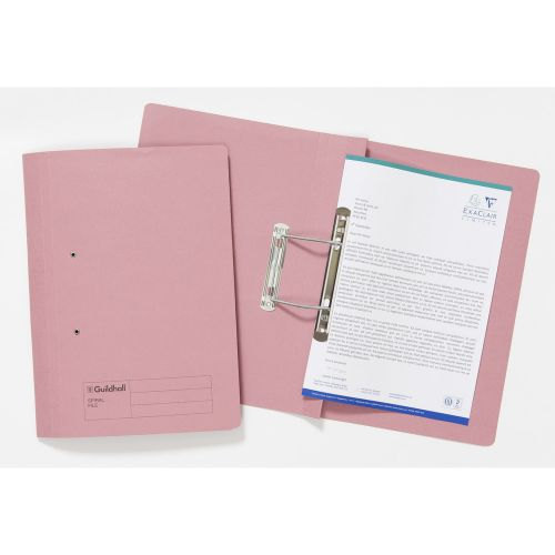 Guildhall Sprial File Foolscap 285gsm Pink PK25
