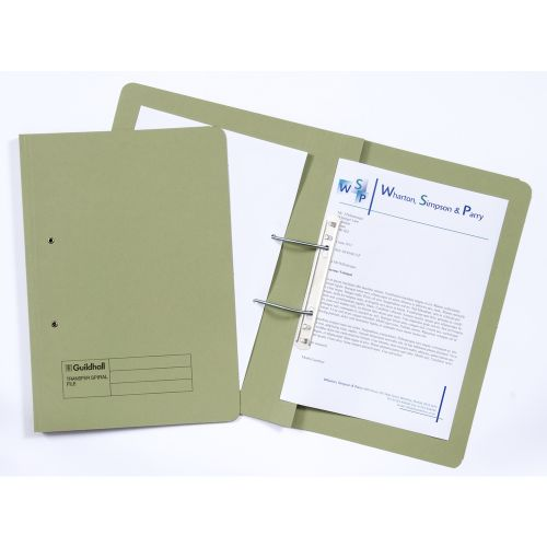 Guildhall Transfer Spring Files 38mm Foolscap Green PK50