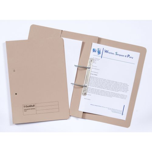 Guildhall 38mm Transfer Spring Files Foolscap Buff PK25