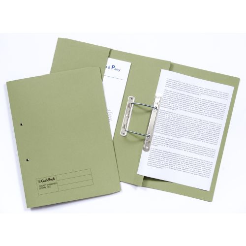 Guildhall 38mm Transfer Spring File Foolscap Green PK25