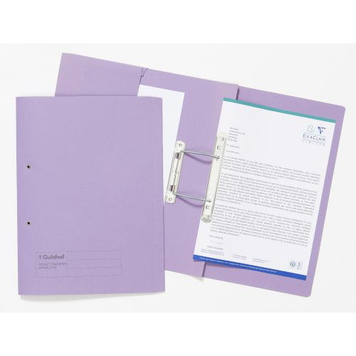 Guildhall Pocket Transfer File Foolscap 315gsm Mauve PK25