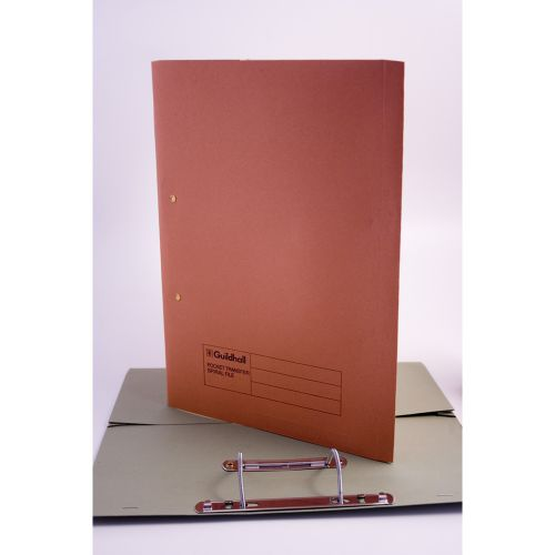 Guildhall 38mm Transfer Spring Files Foolscap Orange PK25