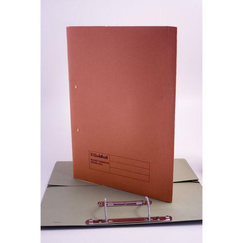 Guildhall 38mm Transfer Spring Files Foolscap Orange PK25