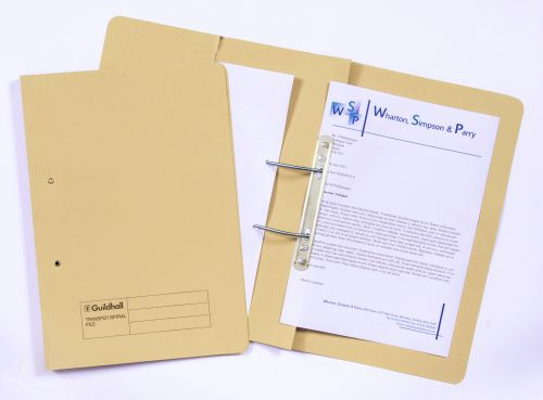 Guildhall 38mm Transfer Spring Files Foolscap Yellow PK25