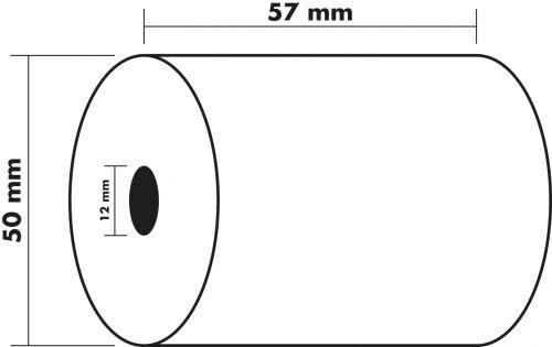 Receipt Rolls 1ply 60g 57x50x12mm 20m PK10