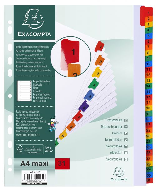 Exacompta 31 Part Printed Dividers A4 Extra Wide