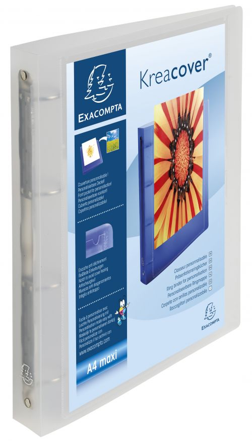 Exacompta 4O Ring Binder A4 Maxi 40mm Spine Clear PK12