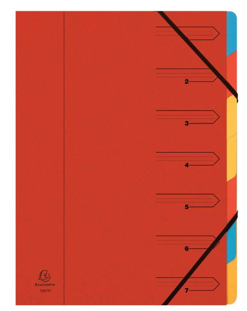 Exacompta Multipart File A4 355gsm 7 Part Red