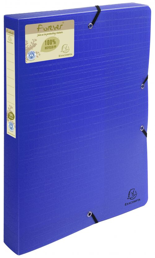 Image for Forever Box File Elastic Closure A4 40mm PP Blue PK8