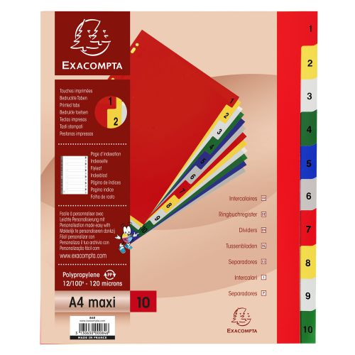 Exacompta 10 Part Printed PP Index A4 Extra Wide