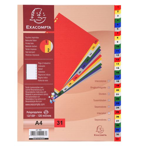Exacompta Polypropylene A4 Index 1-31 White with Coloured Tabs