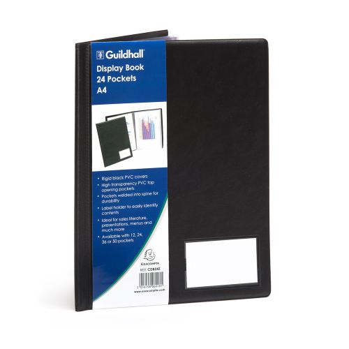 Image for Guildhall Display Book A4 24 Pockets Black