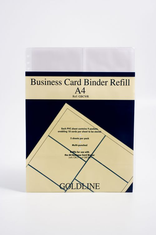Image for Goldline Business Card Binder Refill A4 GBC9/RZ (PK5)