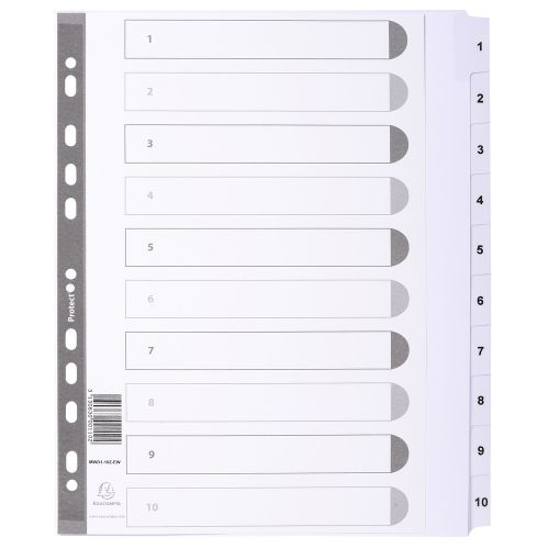 Exacompta Guildhall Mylar Index 1-10 A4 Maxi White MWD1-10Z-EW