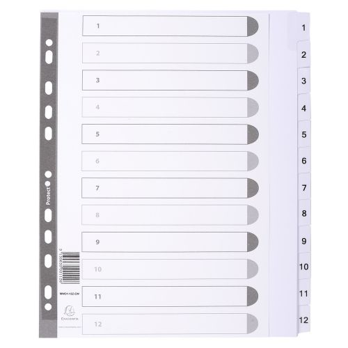 Exacompta Guildhall Mylar Index 1-12 A4 Maxi White MWD1-12Z-EW