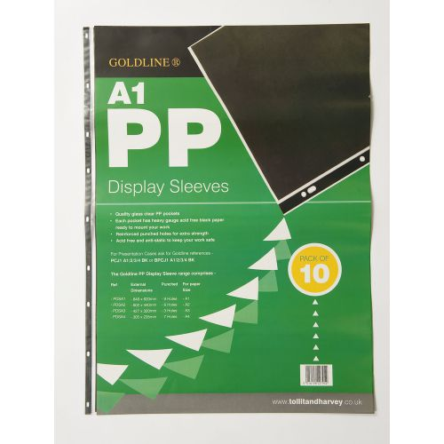 Image for Goldline Polyprop Display Sleeves A1 9 Holes PDSA1Z (PK10)