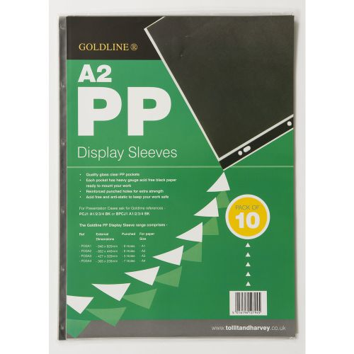 Image for Goldline Polyprop Display Sleeves A2 6 Holes PDSA2Z (PK10)