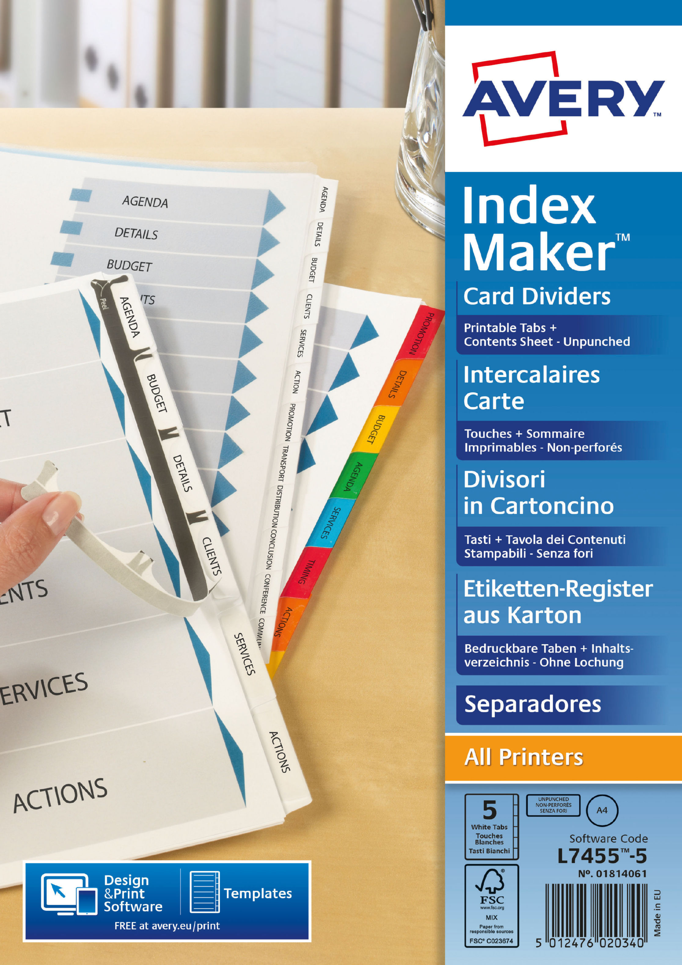 Avery Indexmaker 5 Part Divider Unpunched 01814061