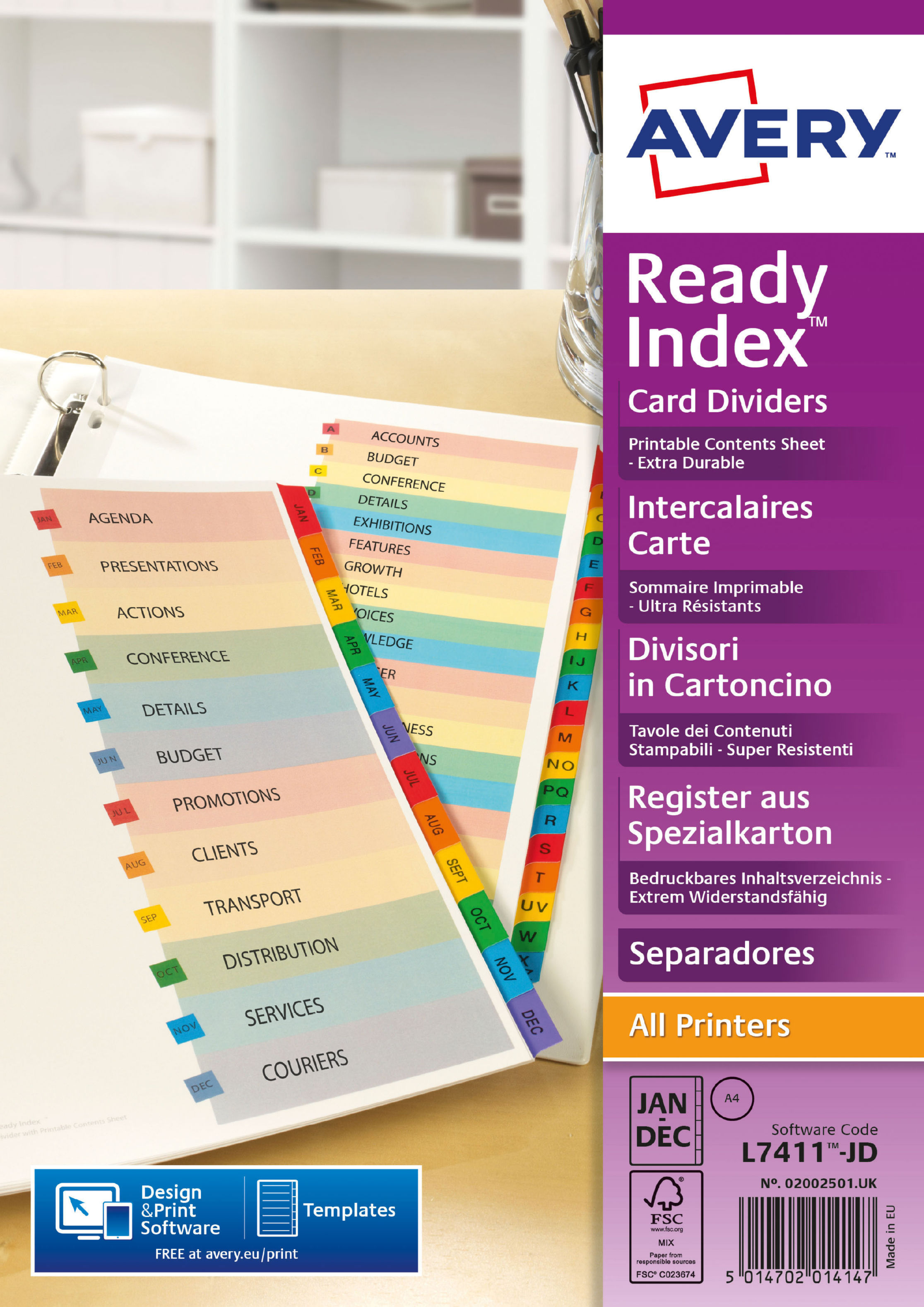 Dividers Avery Readyindex Divider Jan-Dec Punched 190gsm Card White with Coloured Mylar Tabs 02002501